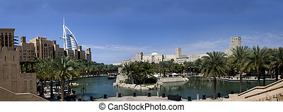 Burj Dubai and Madinath Jumeirah - The panoramic view of...