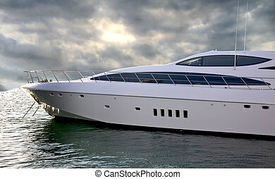 A luxury Yacht Sideways - A Luxury Yatch parked in its berth...