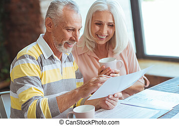 Cheerful aged couple discussing their business matters at...