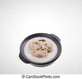Porridge or Chicken Porridge on a background. - Porridge or...