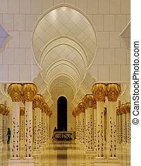 Interior of grand Mosque Abu Dhabi - Interior illuminated...