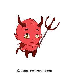 Little cute devil holding a pitchfork