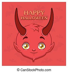 Cute devil face greeting with text