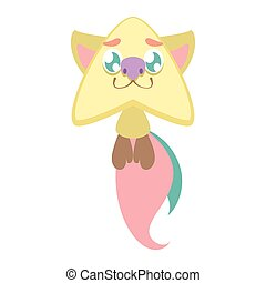 Cute smiling star monster with bushy tails