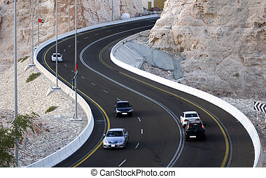 Mountain Road Al Ain - Steep mountain road in Al Ain in UAE....