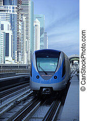 Dubai Metro Train - Dubai metro train arriving at the...