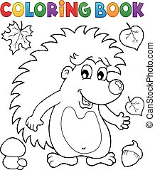 Coloring book hedgehog theme 1 - eps10 vector illustration.