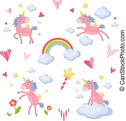Collection of illustrations with a pink unicorn