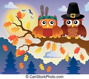 Thanksgiving owls thematic image 4 - eps10 vector...