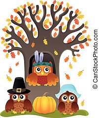 Thanksgiving owls thematic image 5 - eps10 vector...