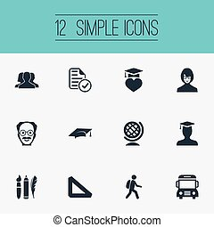 Vector Illustration Set Of Simple School Icons. Elements...