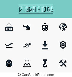 Vector Illustration Set Of Simple Systematization Icons....