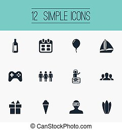 Vector Illustration Set Of Simple Celebration Icons. Elements Present, Water Lily, Decor And Other Synonyms Balloon, Ice And Cocktail.