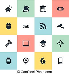 Vector Illustration Set Of Simple Device Icons. Elements Surveillance, Multimedia Center, Storage Acceess And Other Synonyms Internet, Wifi And Phone.