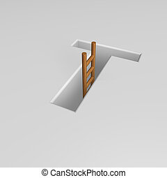 letter t and ladder - uppercase letter t shape hole with...