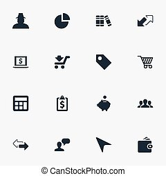 Vector Illustration Set Of Simple Financial Icons. Elements...