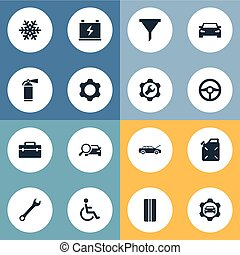Vector Illustration Set Of Simple Auto Icons. Elements...
