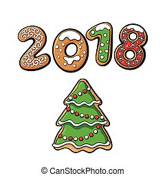 2018 New Year greeting card, gingerbread cookie - 2018...