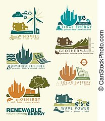icons and infographics of renewable energy sources