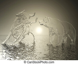 Digital 3D Illustration of a Bull and Bear Relief