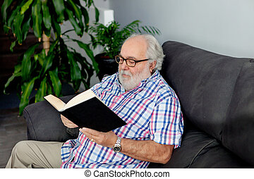 Retired man reading a book in his home - Retired man reading...
