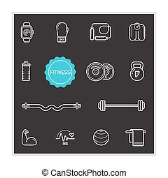Set of Fitness Vector Illustration Elements can be used as Logo or Icon in premium quality