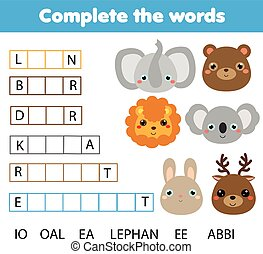 Educational children game. Complete the words kids activity....