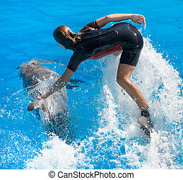 Show with dolphins. Woman standing on a dolphin.
