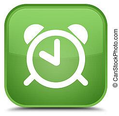 Alarm clock icon special soft green square button - Alarm...