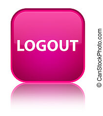 Logout special pink square button - Logout isolated on...