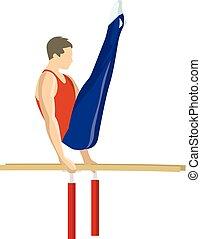 Gymnastics on bars. - Gymnastics on parallel bars. Athlete...
