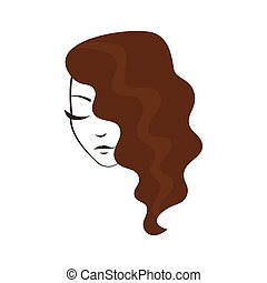 Women face with wavy hair - Hair style women face with wavy...
