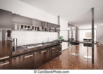 Modern black kitchen interior 3d render