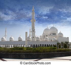 jeque, Zayed, mezquita, frente, vista