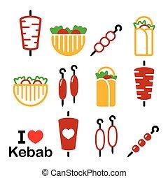 Doner kebab vector icons, kebab in wrap or pita bread, shish...