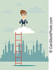 Businessman standing in a cloud on top of corporate ladder...