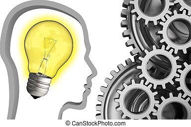 3d mechanic - 3d illustration of light bulb over white...