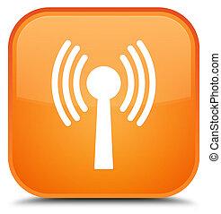 Wlan network icon special orange square button - Wlan...