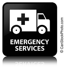 Emergency services black square button - Emergency services...