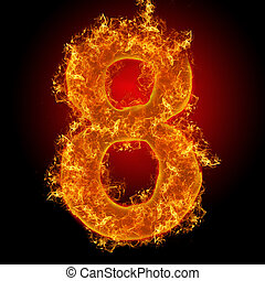 Fire number 8 on a black background