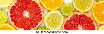 top view of slices of citrus fruits