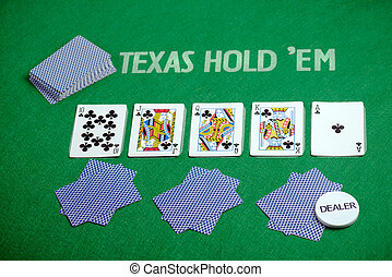 Poker cards Texas Hold em - Poker cards on green poker...
