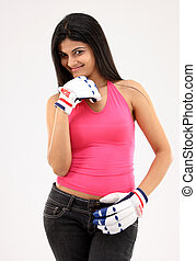 Teenage girl with gloves