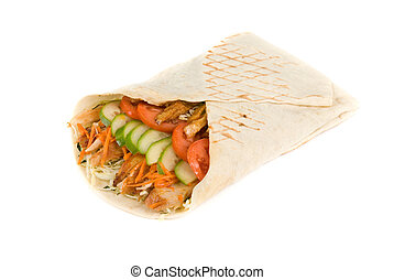 Doner kebab on a white background