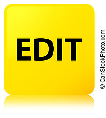 Edit yellow square button - Edit isolated on yellow square...