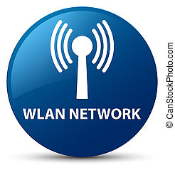 Wlan network blue round button - Wlan network isolated on...