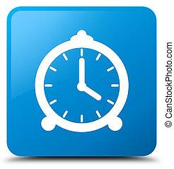 Alarm clock icon cyan blue square button - Alarm clock icon...