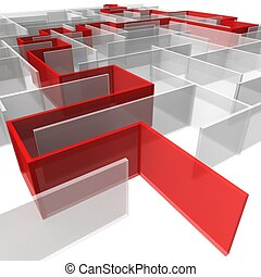 maze of rectangular panels between which the red arrow. 3d...