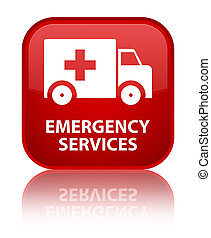Emergency services special red square button - Emergency...