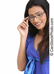 Teenage girl with spectacles